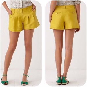 Cartonnier Anthropologie Yellow Pleated Shorts